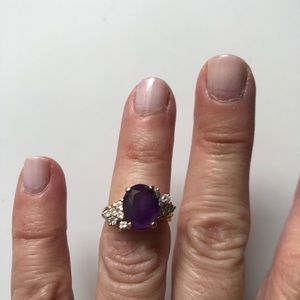Gorgeous Amethyst and diamond ring size 4.25